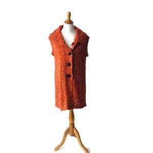 Chicos Long Sweater Vest Duster Orange Large